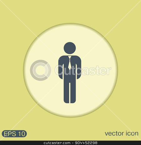 business man in a tie stock vector clipart, the silhouette of a business man in a tie by LittleCuckoo