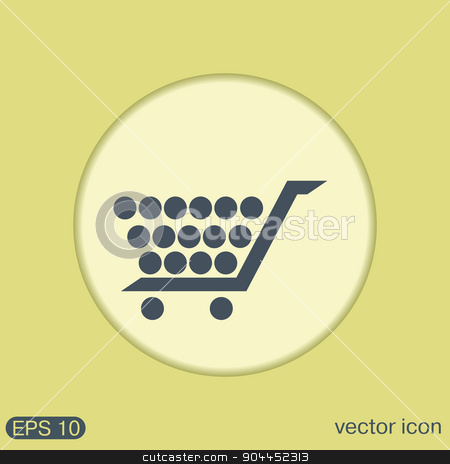 shopping cart icon. vextor illustration stock vector clipart, shopping cart icon. vextor illustration. cart online store, Internet shop. basket shopping by LittleCuckoo