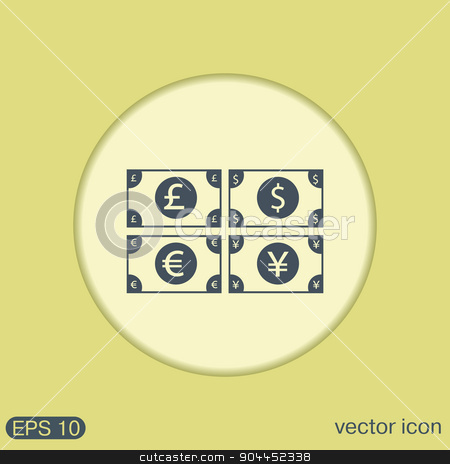 money bill. symbol icon dollar, pound sterling, Japanese yen , euro stock vector clipart, money bill sign. symbol icon dollar, pound sterling, Japanese yen , euro by LittleCuckoo