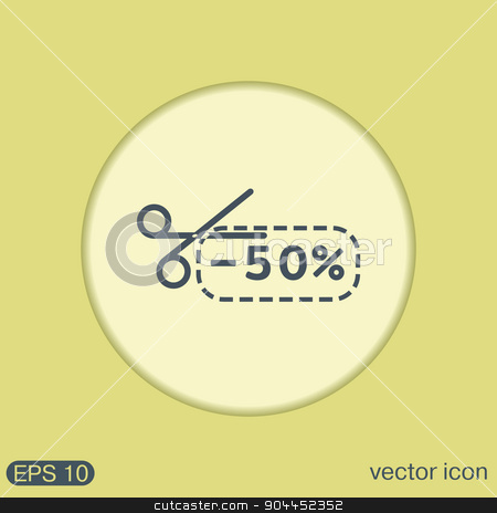 discount coupon with scissors. symbol icon discounts on merchandise stock vector clipart, discount coupon with scissors sign. symbol icon discounts on merchandise by LittleCuckoo