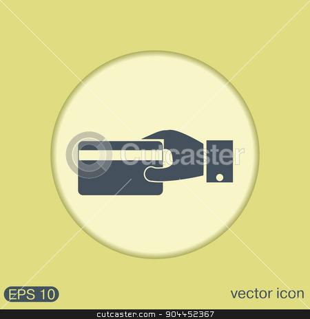 Hand holding credit card, vector, credit card in hand, Payment icon stock vector clipart, Hand holding credit card, vector, credit card in hand, Payment icon by LittleCuckoo