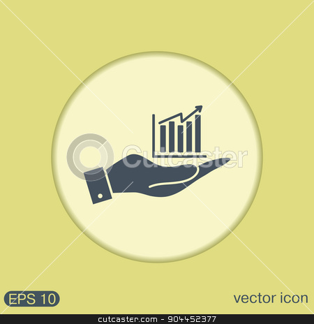 hand holding a chart diagram figure.  business icon stock vector clipart, hand holding a chart diagram figure sign. business icon by LittleCuckoo