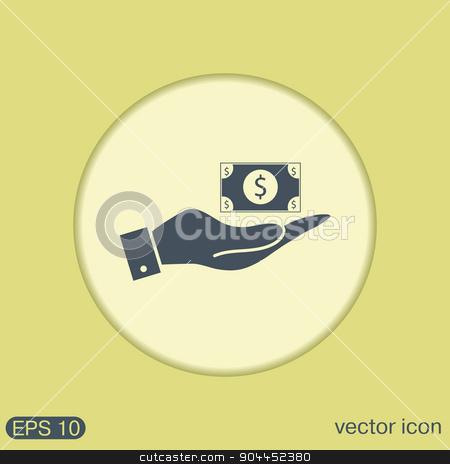 hand holding a Dollar bill. symbol of money stock vector clipart, hand holding a Dollar bill. symbol of money by LittleCuckoo