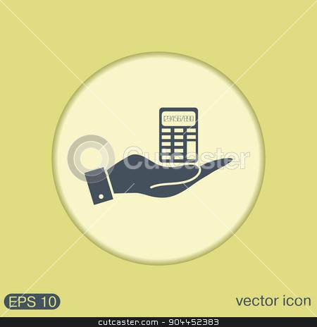 hand holding a calculator stock vector clipart, hand holding a calculator. office sign by LittleCuckoo
