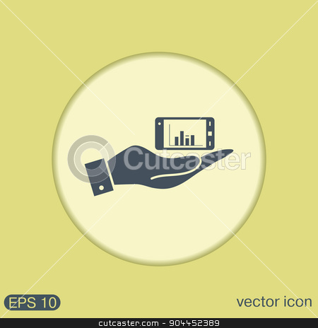 hand holding a smartphone with diagram. stock vector clipart, hand holding a smartphone with diagram. by LittleCuckoo