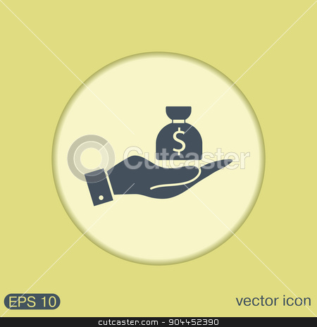 hands holding bag of money stock vector clipart, hands holding bag of money by LittleCuckoo