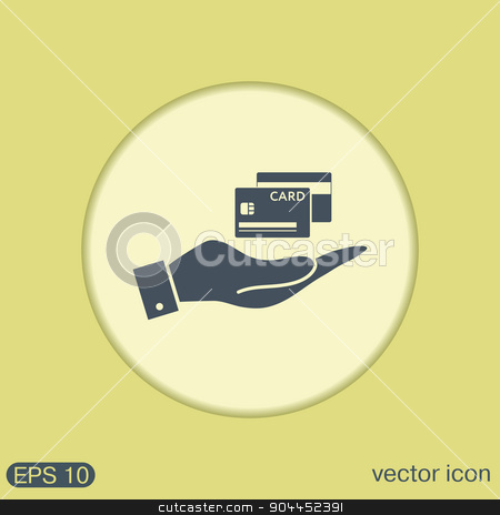 hand holding a credit card stock vector clipart, hand holding a credit card. by LittleCuckoo