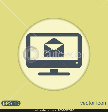 monitor, letter envelope, mail icon stock vector clipart, monitor with symbol a letter envelope, mail icon by LittleCuckoo