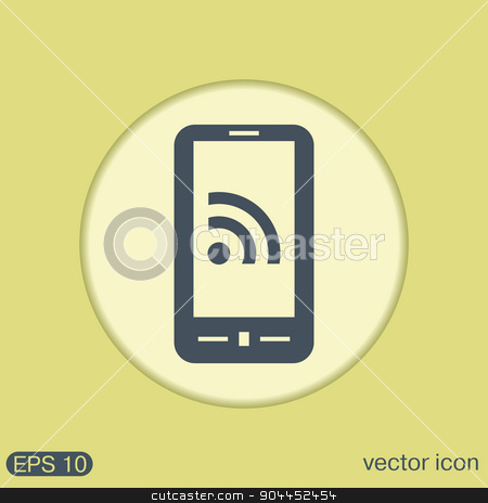 smartphone with the symbol rss. stock vector clipart, smartphone with the symbol rss by LittleCuckoo