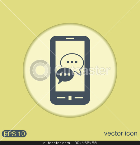 smartphon, cloud of speaking dialogue. stock vector clipart, smartphone with the symbol of  cloud of speaking dialogue by LittleCuckoo