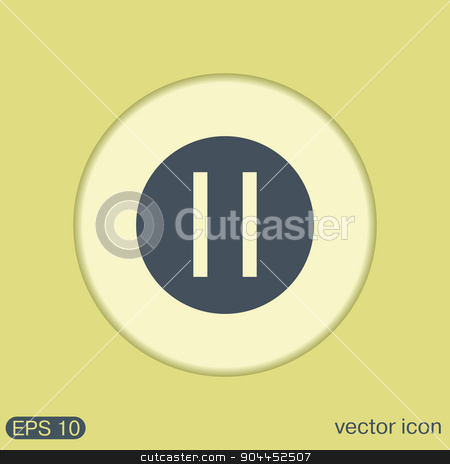 pause sign web icon on background. stock vector clipart, pause sign web icon on background. by LittleCuckoo