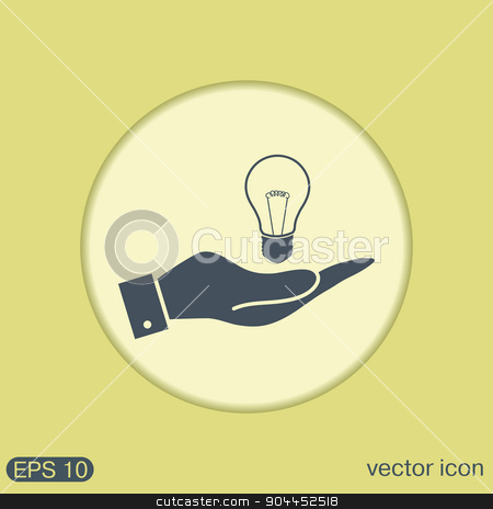 hand holding a lightbulb. character ideas. incandescent lamp . icon of electric light stock vector clipart, hand holding a lightbulb sign. character ideas. incandescent lamp . icon of electric light by LittleCuckoo