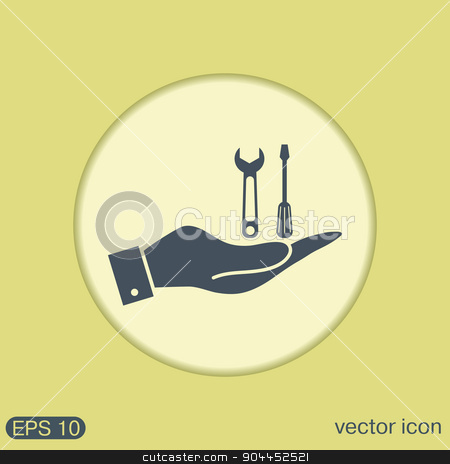 hand holding a screwdriver and wrench, symbol settings sign stock vector clipart, hand holding a screwdriver and wrench, symbol settings sign by LittleCuckoo