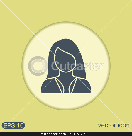 A female avatar. girl. Avatar of a woman with long hair and bangs stock vector clipart, A female avatar. girl. Avatar of a woman with long hair and bangs by LittleCuckoo