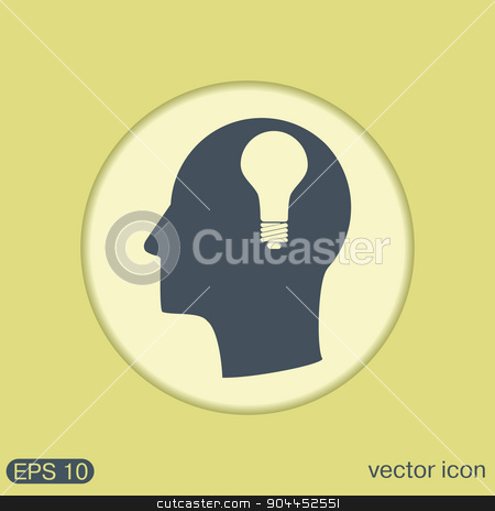 Vector Icon head think silhoutte vector man and his mind about  lightbulb. character ideas. incandescent lamp . icon of electric light stock vector clipart, Idea head, Vector Icon head think silhoutte vector man and his mind about  lightbulb sign. character ideas. incandescent lamp . icon of electric light by LittleCuckoo