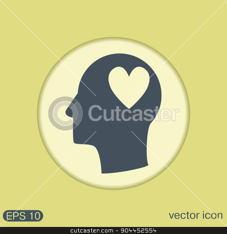 Vector Icon head think silhoutte vector man and his mind about  heart symbol stock vector clipart, Vector Icon head think silhoutte vector man and his mind about  heart sign.  valentine icon by LittleCuckoo