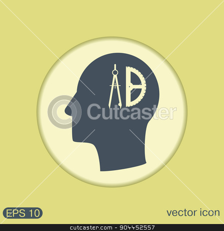 Vector Icon head think silhoutte vector man and his mind about compass and protractor. Education sign. symbol icon drawing and geometry stock vector clipart, Vector Icon head think silhoutte vector man and his mind about the compass and protractor. characters geometry. Education sign. symbol icon drawing and geometry by LittleCuckoo