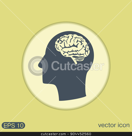 Vector Icon head with brain.  Mind and science stock vector clipart, Vector Icon head with brain.  Mind and science by LittleCuckoo