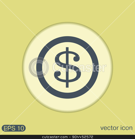Dollar coin. symbol of money stock vector clipart, Dollar coin. symbol of money by LittleCuckoo