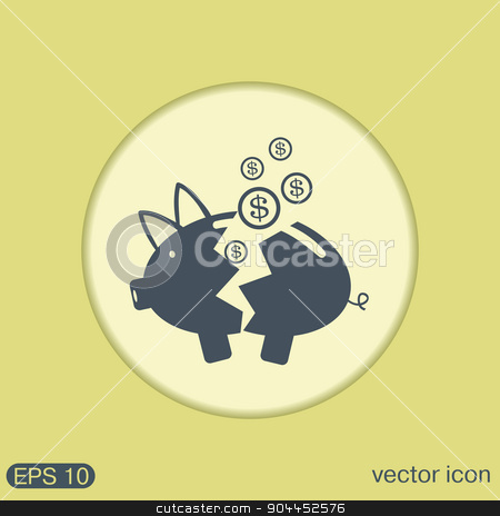 broken piggy Bank icon stock vector clipart, broken piggy Bank icon by LittleCuckoo