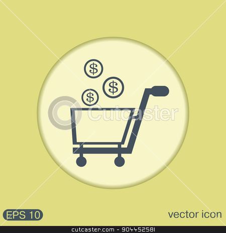 shopping cart with money stock vector clipart, shopping cart with money by LittleCuckoo