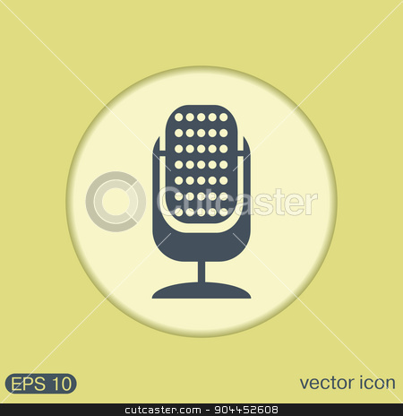 microphone. character singing and the music industry stock vector clipart, microphone sign. character singing and the music industry by LittleCuckoo
