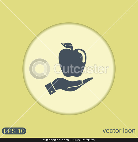 Hand holding apple stock vector clipart, Hand holding apple by LittleCuckoo