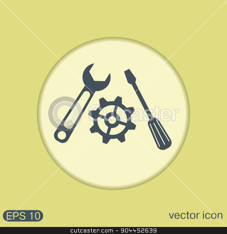 screwdriver, cogwheel and wrench icon setting and repair stock vector clipart, screwdriver, cogwheel and wrench icon setting and repair by LittleCuckoo