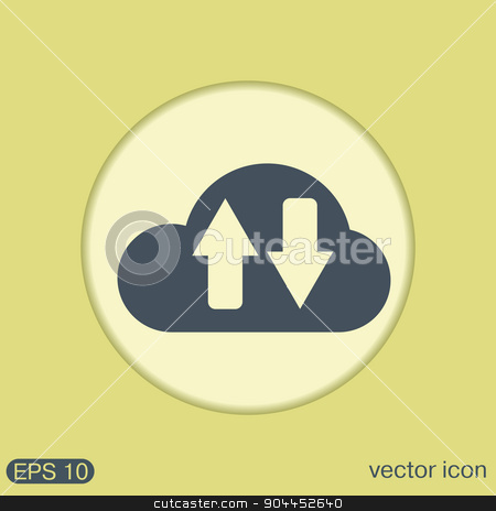 cloud download. icon download files stock vector clipart, cloud download. icon download files by LittleCuckoo