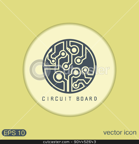 Circuit board sign icon. Technology scheme symbol.  stock vector clipart, Circuit board sign icon. Technology scheme symbol.  by LittleCuckoo