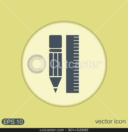 ruler and pencil. characters geometry.  stock vector clipart, ruler and pencil. characters geometry. Education sign, symbol icon drawing and geometry by LittleCuckoo