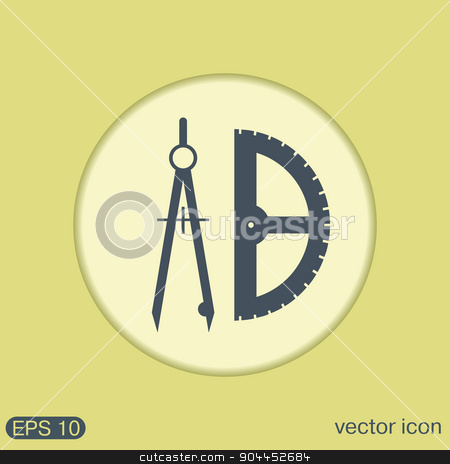 compass and protractor. Education sign.  stock vector clipart, the compass and protractor. characters geometry. Education sign. symbol icon drawing and geometry by LittleCuckoo