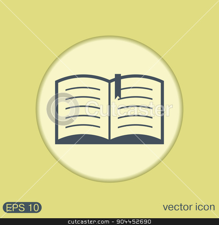 open book. Education sign, symbol icon book with a bookmark or notebook . stock vector clipart, open book sign. Education sign, symbol icon book with a bookmark or notebook . by LittleCuckoo