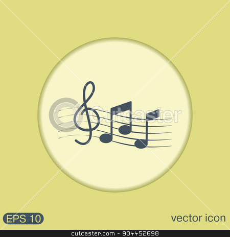 Musical notes and treble clef.  stock vector clipart, Musical notes and treble clef. Symbol muzykiki. Icon art and musicality by LittleCuckoo