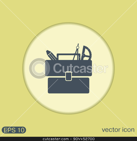 School briefcase bag with stationery. Symbol office or school. stock vector clipart, School briefcase bag with stationery. Symbol office or school. by LittleCuckoo