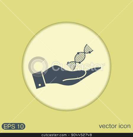 hand holding a DNA helix. Medical Research character. Symbol of medicine. Icon Biology and Genetics stock vector clipart, hand holding a DNA helix. Medical Research character. Symbol of medicine. Icon Biology and Genetics by LittleCuckoo