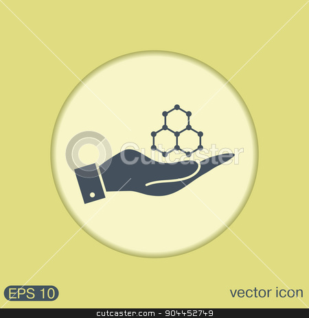 hand holding a Chemical compound. Symbol chemistry. Icon science stock vector clipart, hand holding a Chemical compound. Symbol chemistry. Icon science by LittleCuckoo