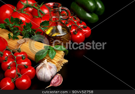 Pasta raw isolated on black with tomatoes,olive oil,garlic left  stock photo, Long group of raw pasta tied with string isolated on black board with basil,tomatoes and carafe full of olive oil upright by Tadeusz Wejkszo