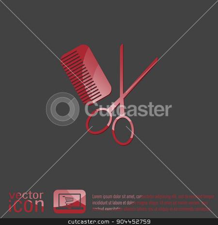 comb, scissors. barbershop. symbol of hair and beauty salon stock vector clipart, comb and scissors. barbershop. symbol of hair and beauty salon by LittleCuckoo