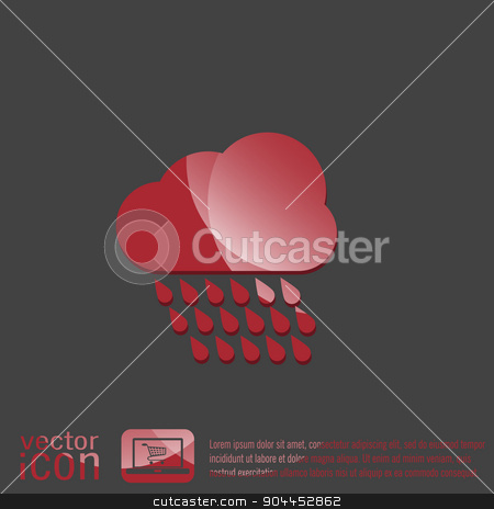 cloud rain.  the weather icon stock vector clipart, cloud rain with wind.  the weather icon by LittleCuckoo