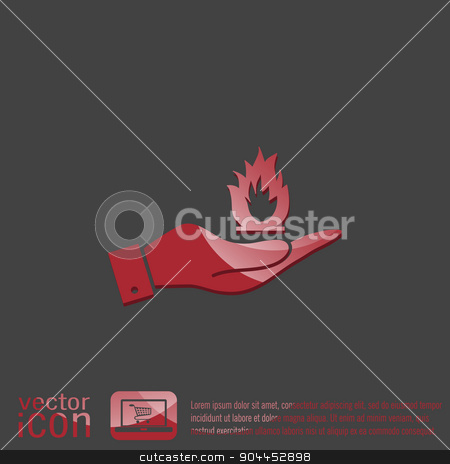 hand holding a fire sign. stock vector clipart, hand holding a fire icon. by LittleCuckoo