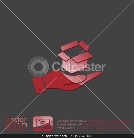 hand holding a Opened cardboard box stock vector clipart, hand holding a Opened cardboard box by LittleCuckoo