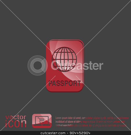international passport. Symbol of travel . Icon personal document stock vector clipart, international passport icon. Symbol of travel . Icon personal document by LittleCuckoo
