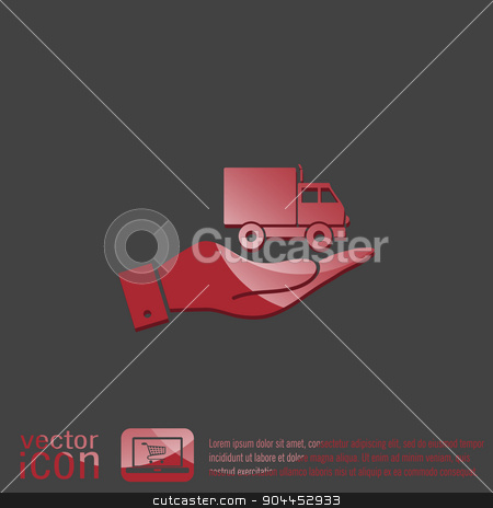 hand holding a Truck. Logistic icon. symbol icon laden truck. carriage of the goods or things stock vector clipart, hand holding a Truck. Logistic icon. Transportation symbol. symbol icon laden truck. carriage of the goods or things by LittleCuckoo