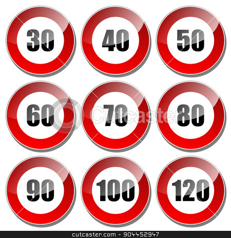 Speed limit sign stock vector clipart, Illustration set of speed limit signs on a white background. by Andrija Markovic