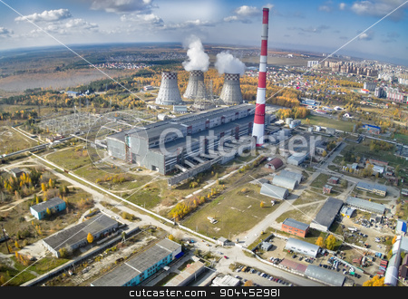 Combined heat and power factory. Tyumen. Russia stock photo, Tyumen, Russia - September 30, 2014: Aerial view on combined heat and power factory number 2 by Aikon