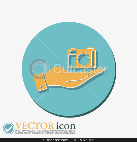 hand holding a photo camera stock vector clipart, hand holding a photo camera by LittleCuckoo