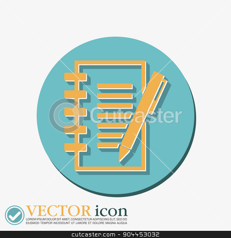 sheet of paper with pen stock vector clipart, sheet of paper and pen by LittleCuckoo