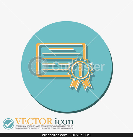 diploma for the first place stock vector clipart, diploma for the first place. Education sign, symbol icon college or institute. graduation by LittleCuckoo