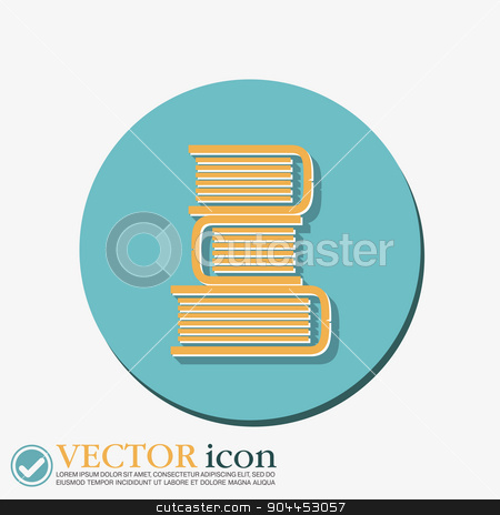 Books tower icon. Education sign stock vector clipart, Books tower icon. Education sign by LittleCuckoo